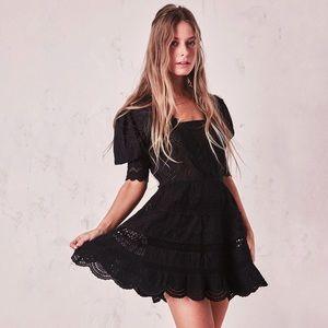 LoveShackFancy Kristen Black Eyelet Mini Dress 0